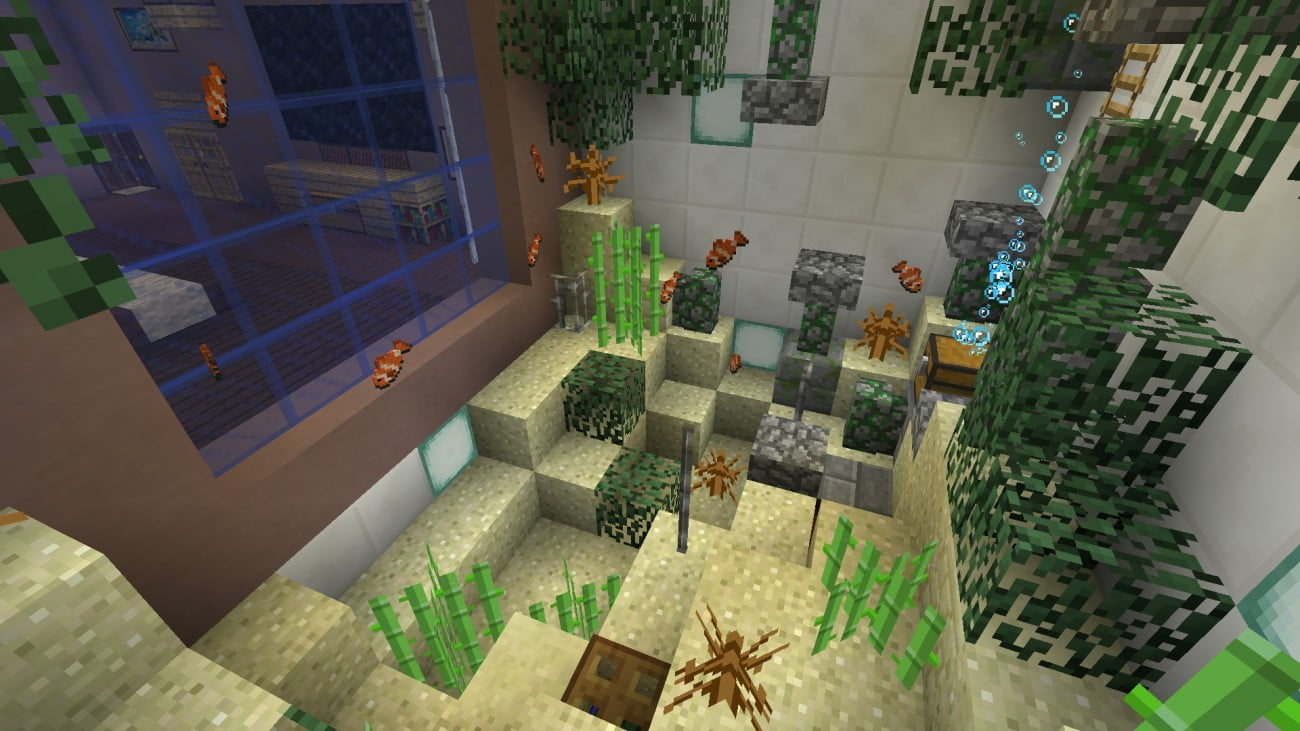 aquarium mit echten fischen in minecraft bauen. Black Bedroom Furniture Sets. Home Design Ideas