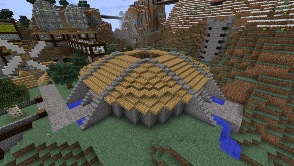 arena mit sonnendach in minecraft bauen minecraft. Black Bedroom Furniture Sets. Home Design Ideas