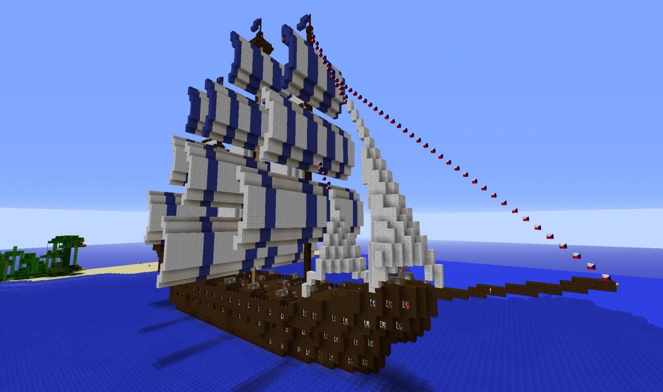 Dreimaster mit inneneinrichtung und kanonen in minecraft - Minecraft inneneinrichtung ...