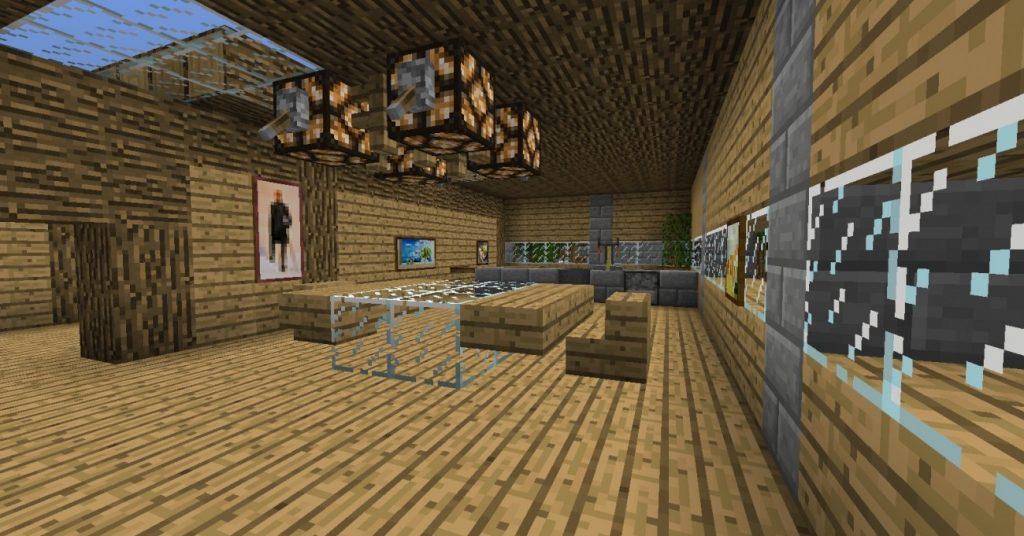 esszimmer mit integrierter k che in minecraft bauen minecraft. Black Bedroom Furniture Sets. Home Design Ideas