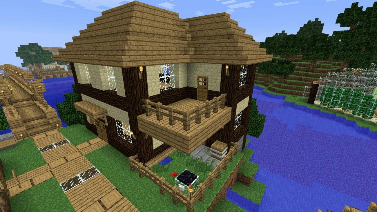 haus aus holz und sandstein in minecraft bauen. Black Bedroom Furniture Sets. Home Design Ideas