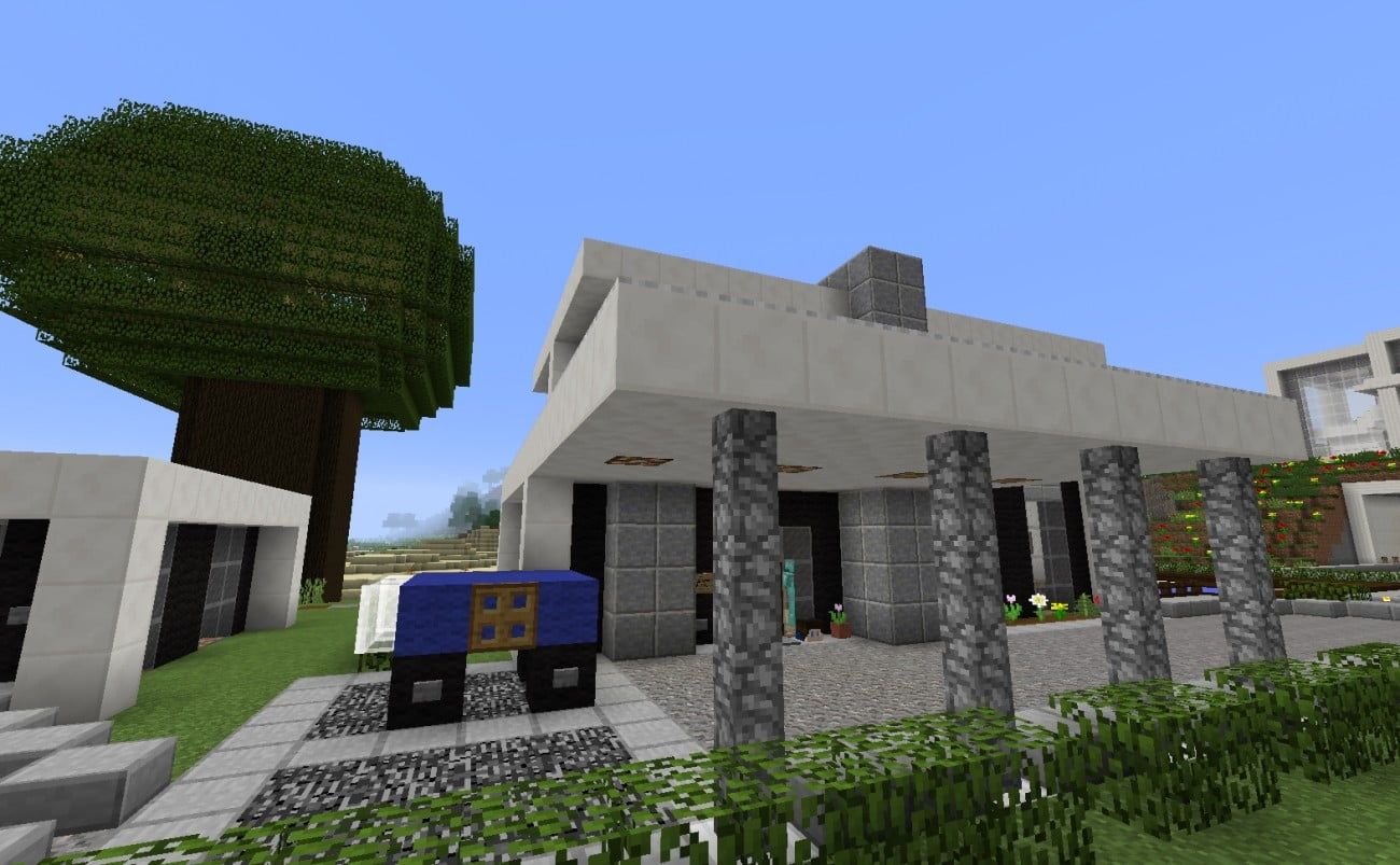 Haus mit vordach in minecraft bauen minecraft for Bauideen minecraft