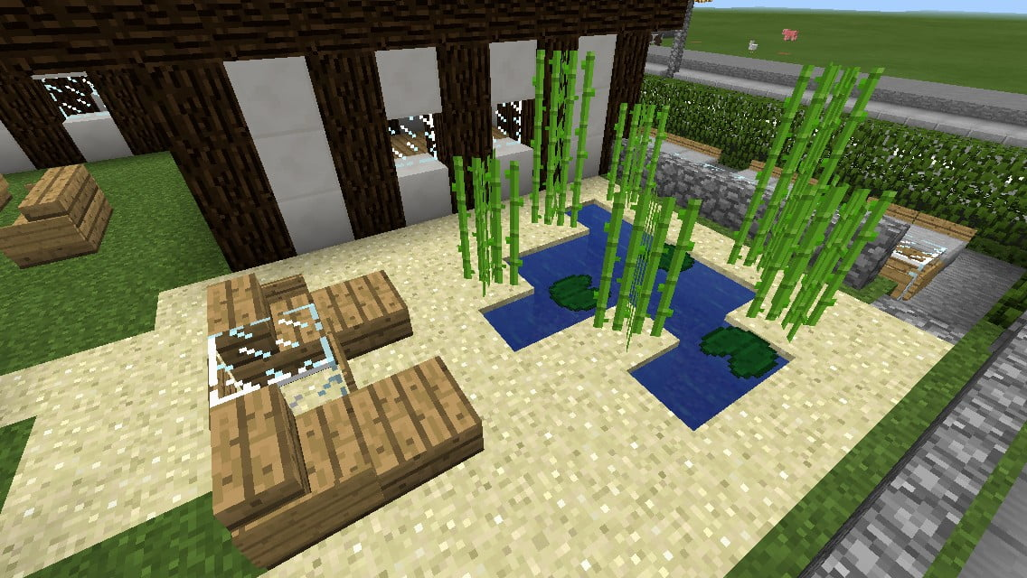 kleiner garten mit teich und liegen in minecraft bauen. Black Bedroom Furniture Sets. Home Design Ideas