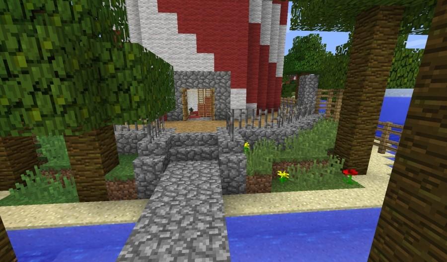 leuchtturm mit schr gem streifenmuster in minecraft bauen minecraft. Black Bedroom Furniture Sets. Home Design Ideas