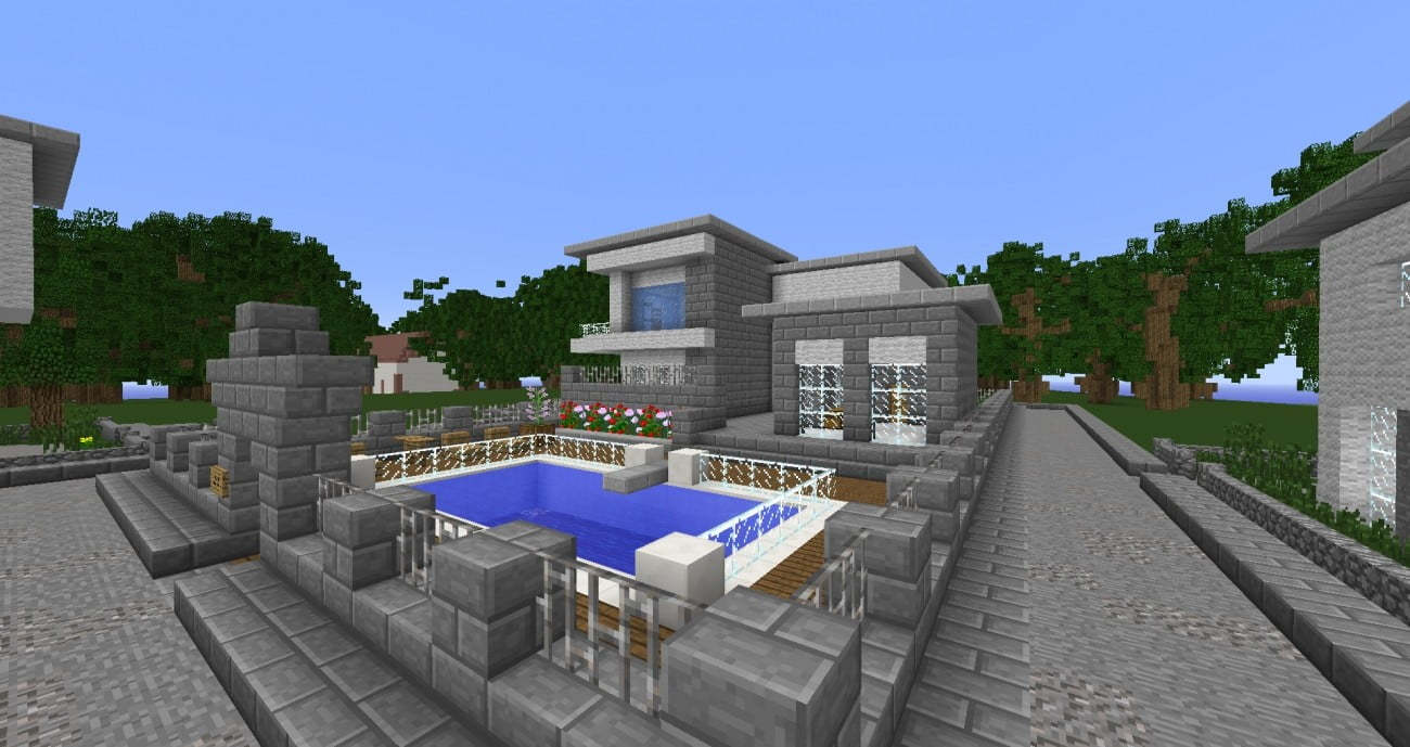 luxusvilla mit pool und pflanzen in minecraft bauen minecraft. Black Bedroom Furniture Sets. Home Design Ideas