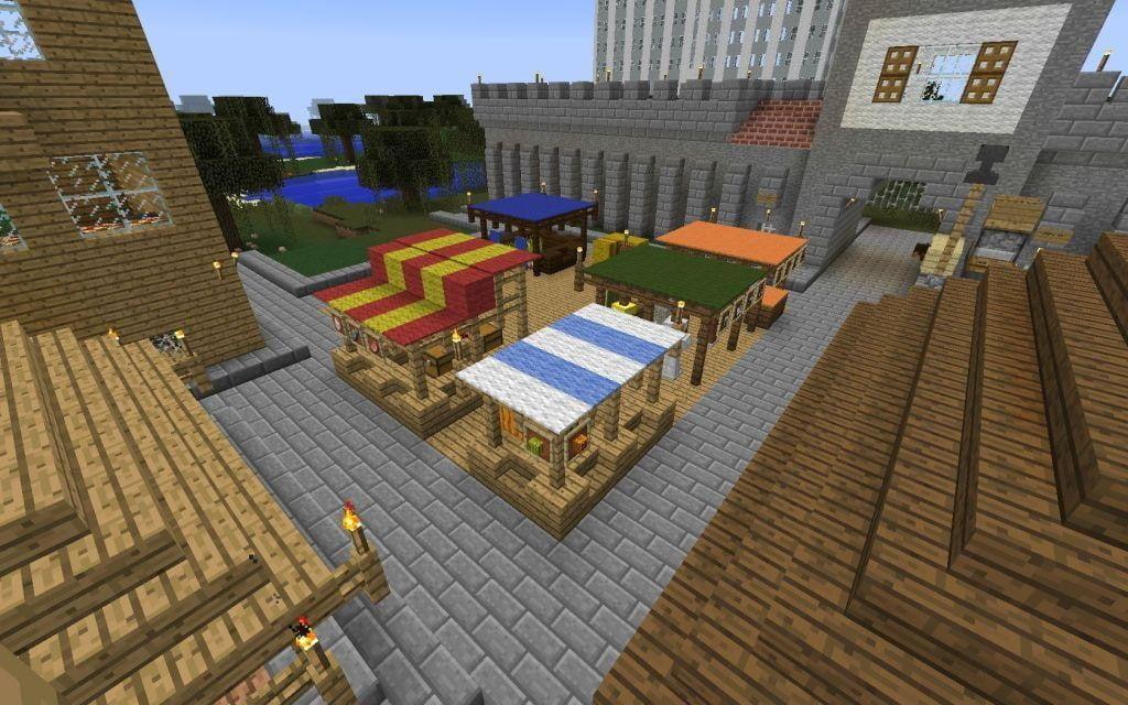 Mittelalterlicher marktplatz in minecraft bauen for Bauideen minecraft