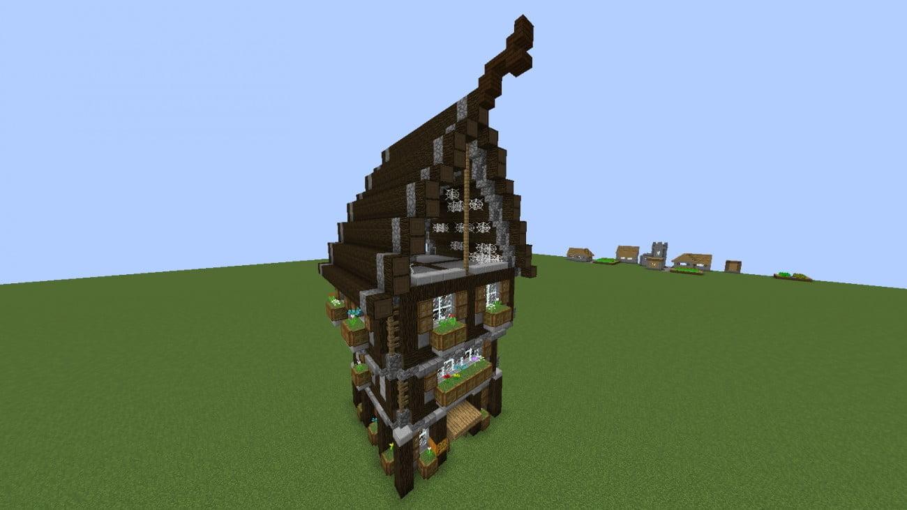 mittelalterliches haus in minecraft bauen minecraft. Black Bedroom Furniture Sets. Home Design Ideas