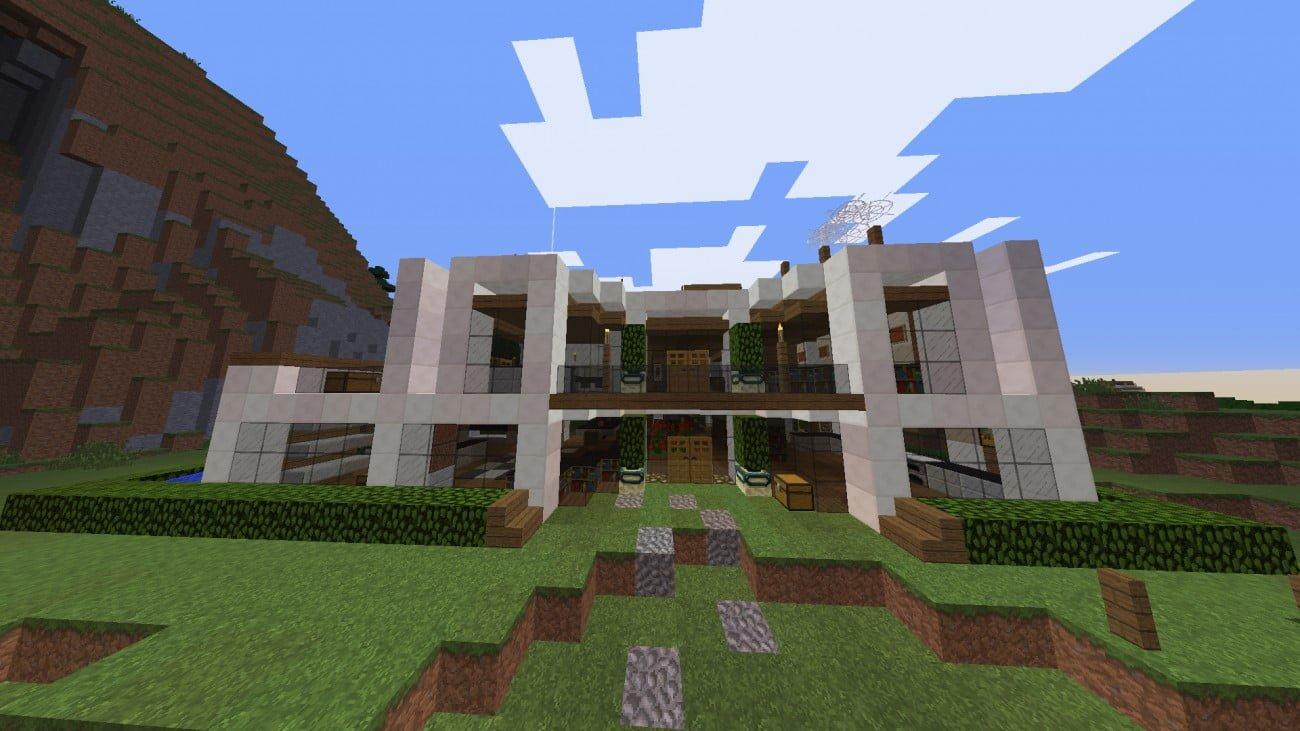 Moderne villa mit garten in minecraft bauen minecraft for Bauideen minecraft