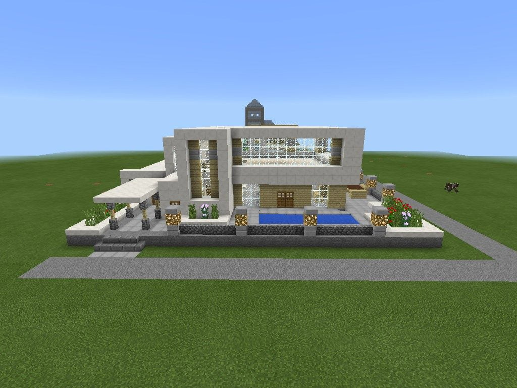Moderne villa in minecraft bauen minecraft for Craftingpat modernes redstone haus