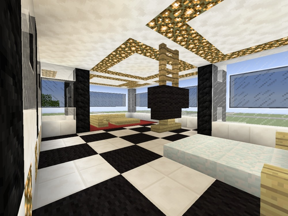 modernes haus mit viel glas minecraft bauideen. Black Bedroom Furniture Sets. Home Design Ideas