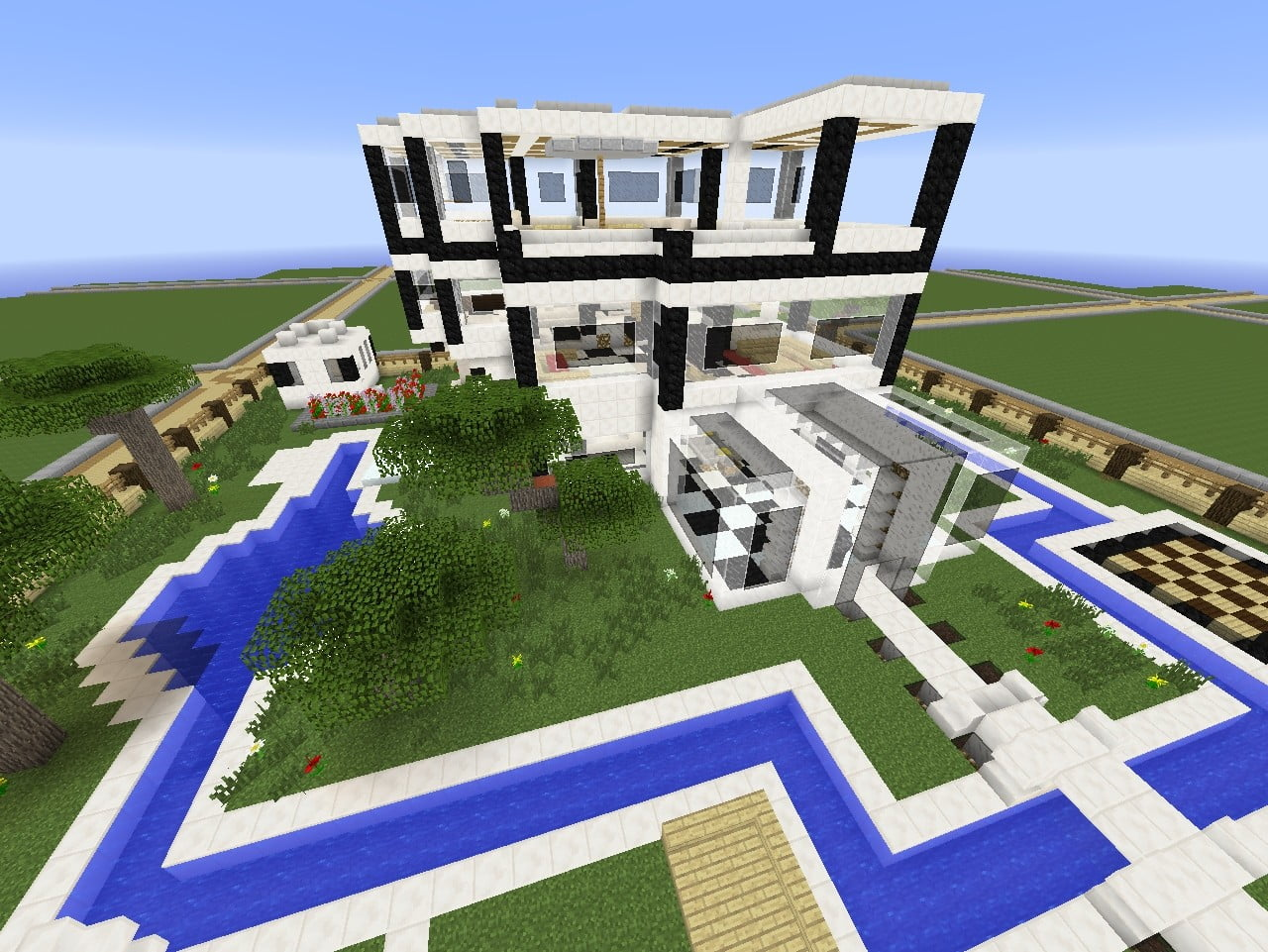 modernes haus mit viel glas in minecraft bauen. Black Bedroom Furniture Sets. Home Design Ideas