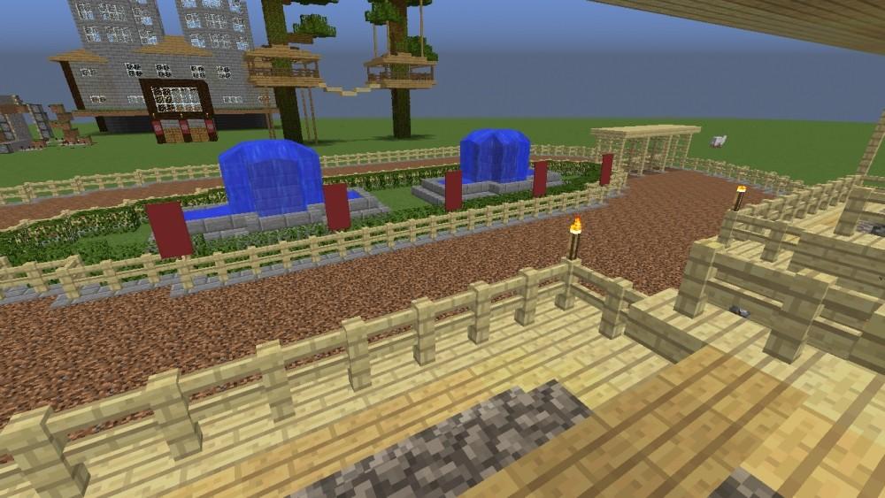 pferderennbahn mit trib ne in minecraft bauen