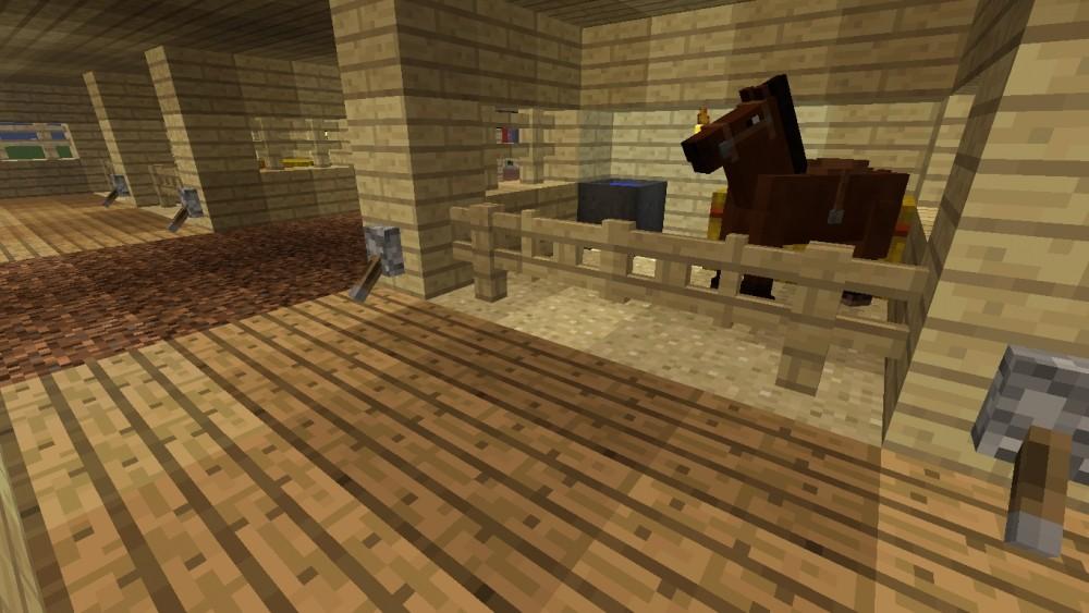 pferderennbahn mit trib ne in minecraft bauen. Black Bedroom Furniture Sets. Home Design Ideas