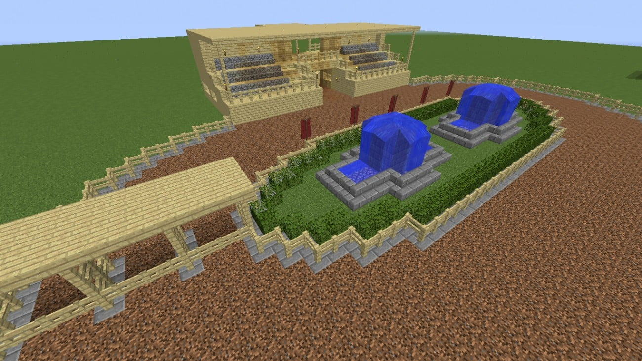 ᐅ Pferderennbahn Mit Tribune In Minecraft Bauen Minecraft Bauideen De