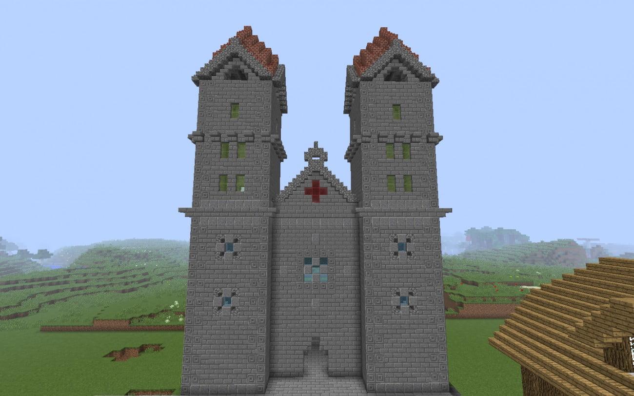 romanische kathedrale fassade in minecraft bauen minecraft. Black Bedroom Furniture Sets. Home Design Ideas