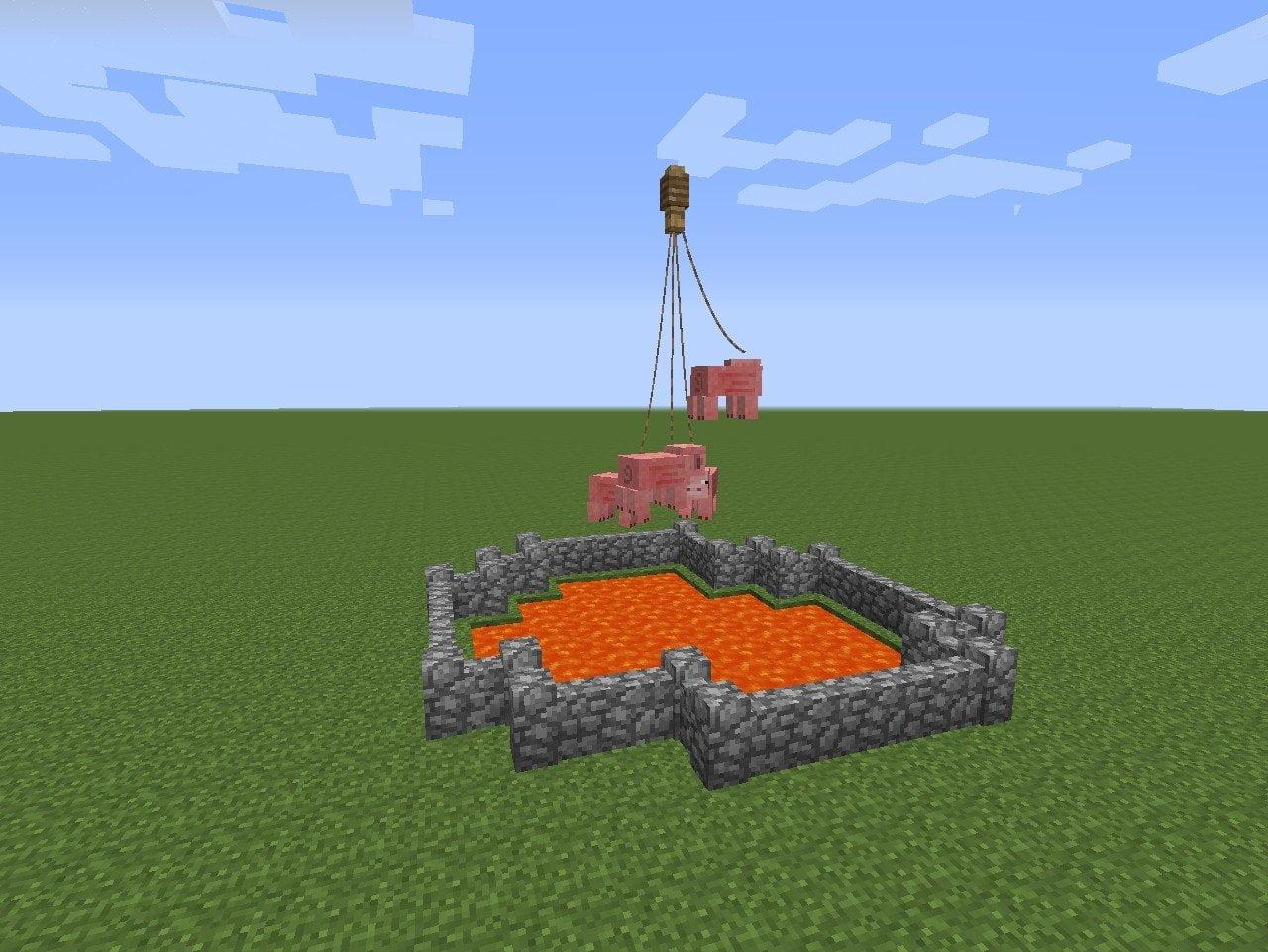 schweine stuntshow in minecraft bauen minecraft. Black Bedroom Furniture Sets. Home Design Ideas