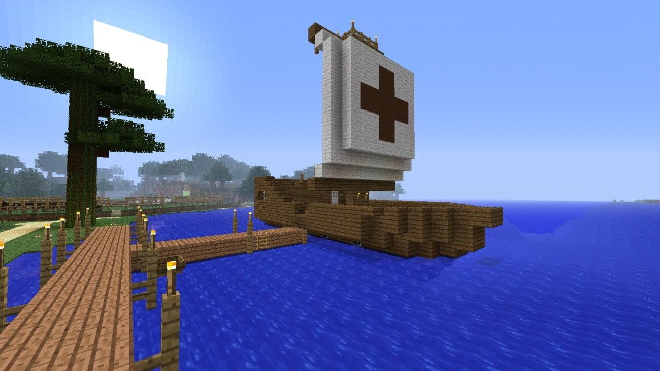 segelschiff aus holz in minecraft bauen minecraft. Black Bedroom Furniture Sets. Home Design Ideas