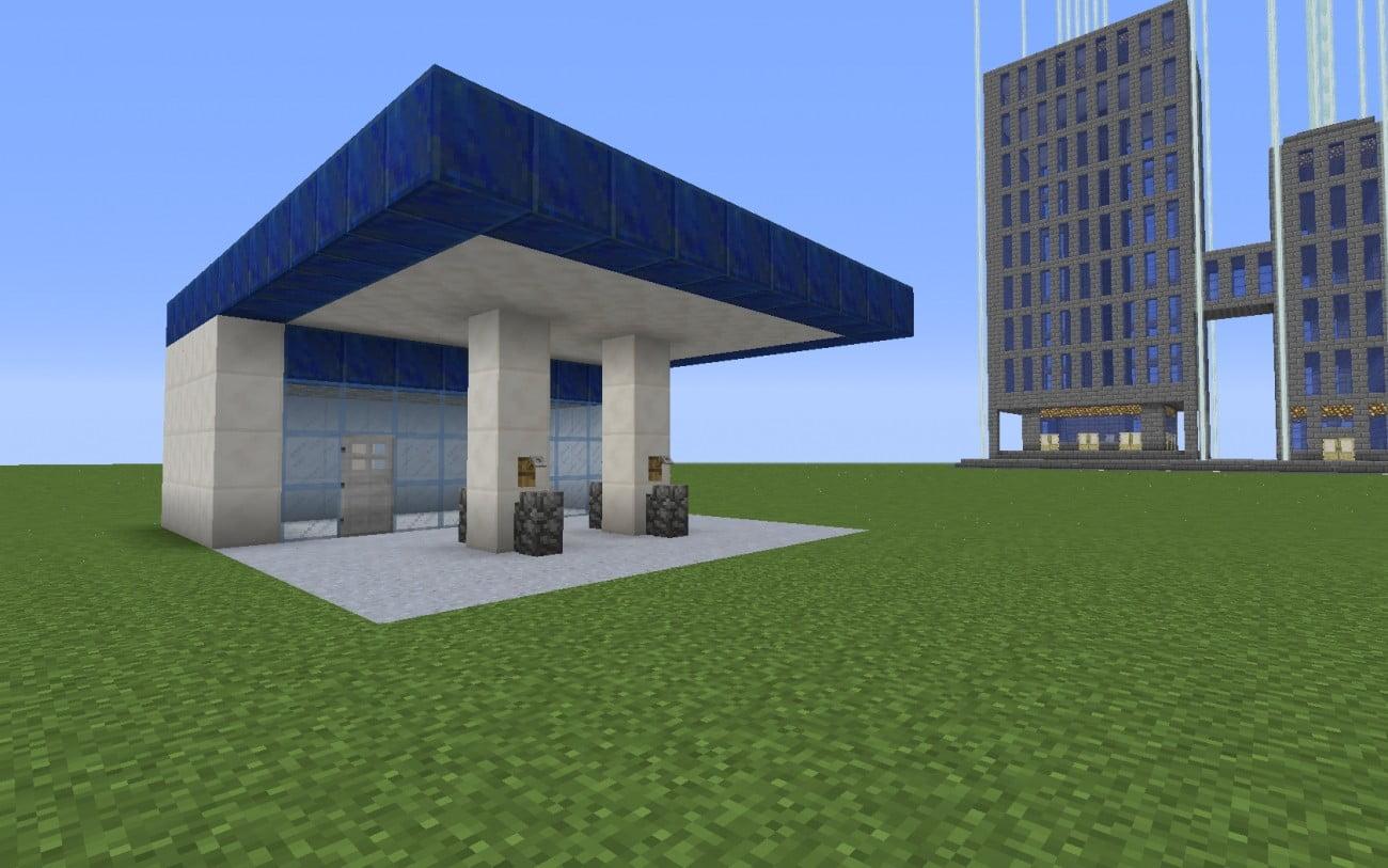 Tankstelle in minecraft bauen minecraft for Minecraft modernes haus 18x18