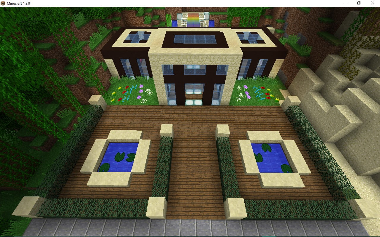 villa mit vor hintergarten hobbykeller in minecraft bauen minecraft. Black Bedroom Furniture Sets. Home Design Ideas