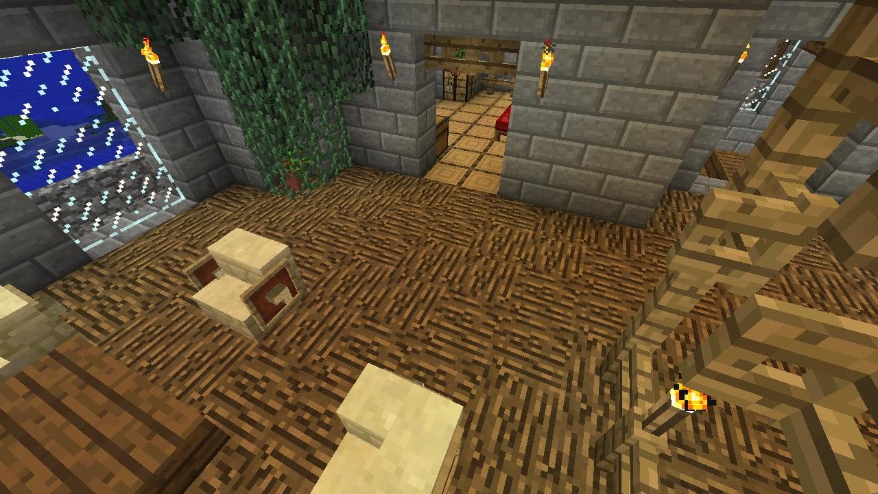 zwei fu b den aus holz in minecraft bauen minecraft. Black Bedroom Furniture Sets. Home Design Ideas
